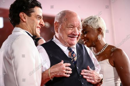 Oscar Isaac, from left, Paul Schrader and Tiffany Haddish pose for photographers upon arrival at the premiere of the film 'The Card Counter' during the 78th edition of the Venice Film Festival in Venice, Italy
