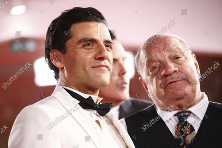 Oscar Isaac and Paul Schrader pose for photographers upon arrival at the premiere of the film 'The Card Counter' during the 78th edition of the Venice Film Festival in Venice, Italy