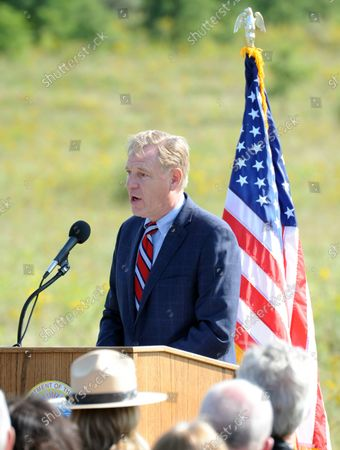 Stock Picture of Will Shafroth , President and CEO of the Nation Parks Foundation speaks at the Soundbreaking,  for the future site of the Tower of Voices, a 93 feet tall tower of 40 chimes, near the entrance of Flight 93 National Memorial on September 10, 2017 near Shanksville, Pennsylvania .