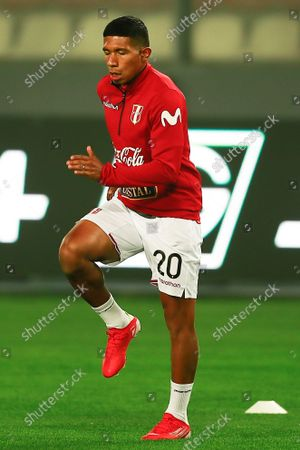 Peru's Edison Flores warms up prior to the Conmebol qualifiers for the Qatar 2022 World Cup between Peru and Uruguay at the National Stadium in Lima, Peru, 02 September 2021.