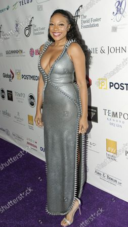 Singer Shelea Frazier arrives on the Red Carpet at the star studded David Foster Foundation 30th Anniversary Miracle Gala & Concert in Roger's Arena, Vancouver, BC, October 21, 2017.