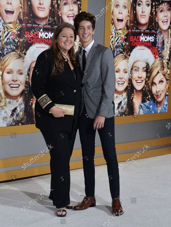 """Actress Camryn Manheim and her son Milo Jacob Manheim attend the premiere of the motion picture comedy """"A Bad Moms Christmas"""" at the Regency Village Theatre in the Westwood section of Los Angeles on October 30, 2017. Storyline: The film follows our three under-appreciated and over-burdened women as they rebel against the challenges and expectations of the Super Bowl for moms: Christmas."""