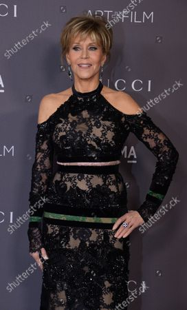 Actress Jane Fonda attends the seventh annual LACMA Art+Film gala honoring artist Mark Bradford and filmmaker George Lucas at the Los Angeles County Museum of Art in Los Angeles on November 4, 2017.