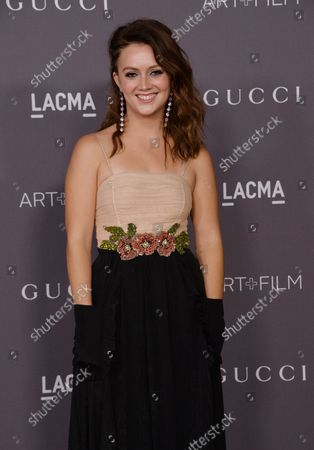 Actress Billie Lourd attends the seventh annual LACMA Art+Film gala honoring artist Mark Bradford and filmmaker George Lucas at the Los Angeles County Museum of Art in Los Angeles on November 4, 2017.