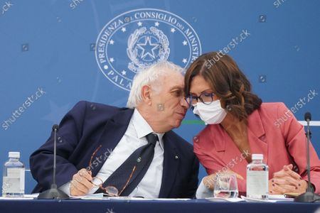 Italian Minister of education Patrizio Bianchi, Italian Minister for Autonomies Mariastella Gelmini during a press conference at the end of a Cabinet meeting that addressed rules for the use of Green Pass against the spread of Covid-19