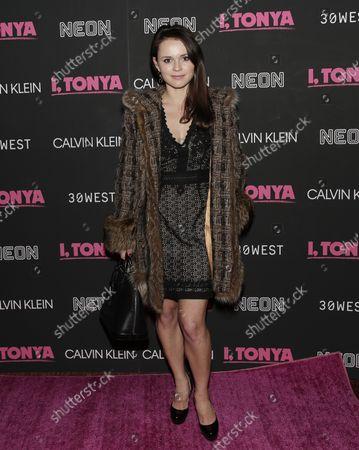 Sasha Cohen arrives on the red carpet at the 'I, Tonya' New York Premiere at Village East Cinema on November 28, 2017 in New York City.