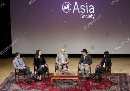 Phloeun Prim, Angelina Jolie, Darren Walker, Rithy Panh, and Loung Ung participate in an Asia Society discussion on 'Memory, Resilience and Renewal in Cambodia' - 'Light after Darkness: Memory, Resilience and Renewal in Cambodia' in New York City on December 14, 2017. The Asia Society discussion with Angelina Jolie, director Rithy Panh, Cambodian Living Arts Executive Director Phloeun Prim, and author Loung Ung addresses the role that art and storytelling have played in Cambodia's process of reconciliation and recovery.