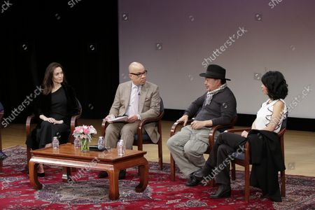 Angelina Jolie, Darren Walker, Rithy Panh, and Loung Ung participate in an Asia Society discussion on 'Memory, Resilience and Renewal in Cambodia' - 'Light after Darkness: Memory, Resilience and Renewal in Cambodia' in New York City on December 14, 2017. The Asia Society discussion with Angelina Jolie, director Rithy Panh, Cambodian Living Arts Executive Director Phloeun Prim, and author Loung Ung addresses the role that art and storytelling have played in Cambodia's process of reconciliation and recovery.