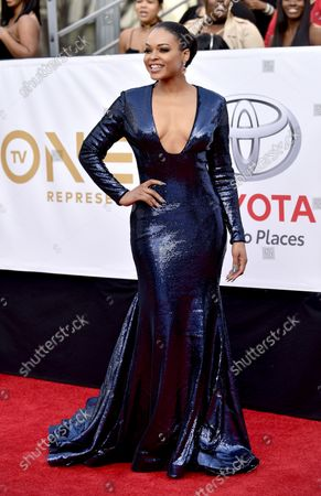 Demetria McKinney arrives for the 49th NAACP Image Awards at the Pasadena Civic Auditorium in Pasadena, California on January 15, 2018. The NAACP Image Awards celebrates the accomplishments of people of color in the fields of television, music, literature and film and also honors individuals or groups who promote social justice through creative endeavors.