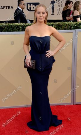 Kelly Karbacz arrives for the the 24th annual SAG Awards held at the Shrine Auditorium in Los Angeles on January 21, 2018. The Screen Actors Guild Awards will be broadcast live on TNT and TBS.