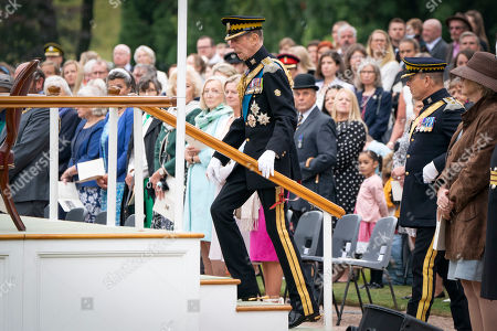 The Duke of Kent arrives for a service in the garden of the Palace of Holyroodhouse in Edinburgh, to mark the 50th anniversary of the Royal Scots Dragoon Guards