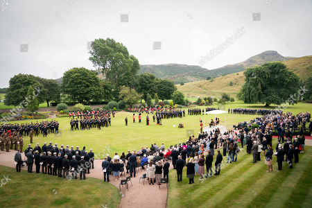 Stock Picture of The Duke of Kent, Army personal and veterans take part in a service in the garden of the Palace of Holyroodhouse in Edinburgh, to mark the 50th anniversary of the Royal Scots Dragoon Guards