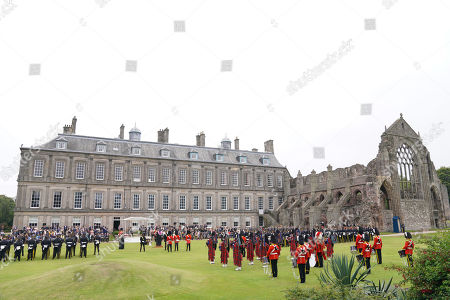 The Duke of Kent, Army personal and veterans take part in a service in the garden of the Palace of Holyroodhouse in Edinburgh, to mark the 50th anniversary of the Royal Scots Dragoon Guards