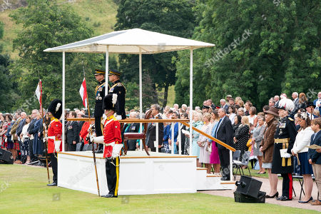 Stock Image of The Duke of Kent during a service in the garden of the Palace of Holyroodhouse in Edinburgh, to mark the 50th anniversary of the Royal Scots Dragoon Guards
