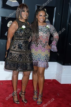 Stock Picture of Gayle King and daughter Kirby Bumpus arrive on the red carpet at the 60th Annual Grammy Awards ceremony at Madison Square Garden in New York City on January 28, 2018. The CBS network will broadcast the show live from Madison Square Garden in New York City. It will be the first time since 2003 that the ceremony will not be held in Los Angeles.
