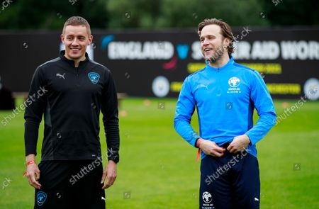 Dermot Kennedy of World XI and Olly Murs of England during a training session