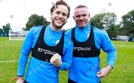 Olly Murs of England and Wayne Rooney of England during a training session