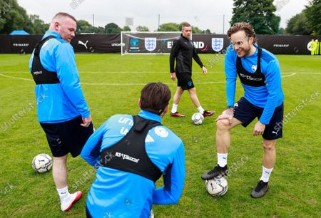 Wayne Rooney of England, Mark Wright of England and Olly Murs of England during a training session