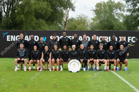 Back Row Left to Right - Darren Fletcher, Ore Oduba, Martin Compston, Big Zuu, Usain Bolt, Wes Morgan, Lee Mack, Dermot Kennedy, Nigel De Jong, Clarence Seedorf and Robbie Keane   Front Row Left to Right - Shay Given, Chelcee Grimes, Yungblud, Julie Fleeting, Patrice Evra, Judy Murray, Harry Redknapp, Kem Cetinay. Tom Grennan, Roberto Carlos and Pablo Zabaleta   World XI team photo taken during a training session