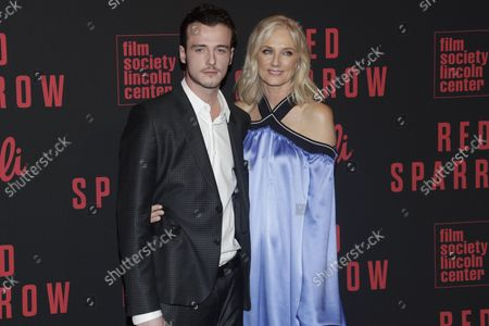 Micheal Neeson and Joely Richardson arrives on red carpet at the 'Red Sparrow' New York Premiere at Alice Tully Hall at Lincoln Center on February 26, 2018 in New York City.