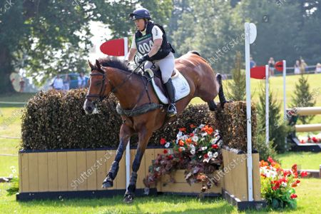 Pippa Funnell riding Majas Hope jumps the Ariat Challenge fence 16C,; Bicton Park, East Budleigh Salterton, Budleigh Salterton, United Kingdom: Bicton CCI 5* Equestrian Event.
