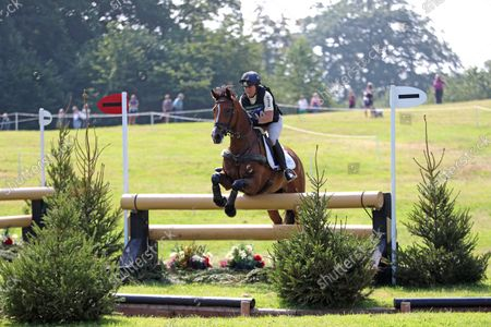 Pippa Funnell riding Majas Hope jumps the Ariat Challenge fence 16A,; Bicton Park, East Budleigh Salterton, Budleigh Salterton, United Kingdom: Bicton CCI 5* Equestrian Event.