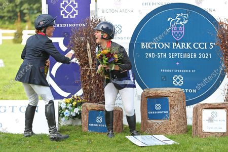 Pippa Funnell shares a joke with the winner Gemma Tattersall; Bicton Park, East Budleigh Salterton, Budleigh Salterton, United Kingdom: Bicton CCI 5* Equestrian Event.