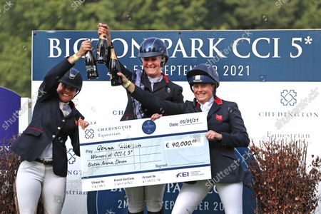Celebrating top three Piggy March, Gemma Tattersall and Pippa Funnell; Bicton Park, East Budleigh Salterton, Budleigh Salterton, United Kingdom: Bicton CCI 5* Equestrian Event.
