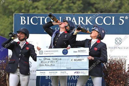 Stock Photo of top three girls, Piggy March, Gemma Tattersall and Pippa Funnell, celebrate their wins; Bicton Park, East Budleigh Salterton, Budleigh Salterton, United Kingdom: Bicton CCI 5* Equestrian Event.