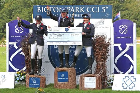 top three riders celebrate their wins. Piggy March, Gemma Tattersall and Pippa Funnell; Bicton Park, East Budleigh Salterton, Budleigh Salterton, United Kingdom: Bicton CCI 5* Equestrian Event.