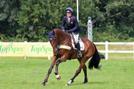 Pippa Funnell riding Billy Walk On celebrates second place at Bicton 5*; Bicton Park, East Budleigh Salterton, Budleigh Salterton, United Kingdom: Bicton CCI 5* Equestrian Event.