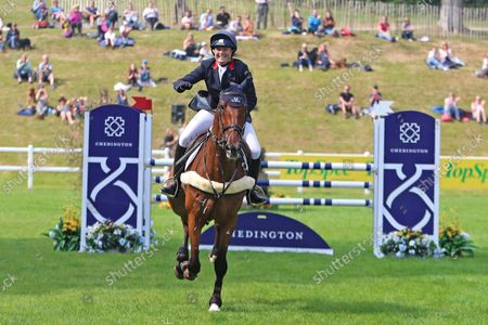 Pippa Funnell riding Billy Walk On celebrates her clear round and placed second; Bicton Park, East Budleigh Salterton, Budleigh Salterton, United Kingdom: Bicton CCI 5* Equestrian Event.