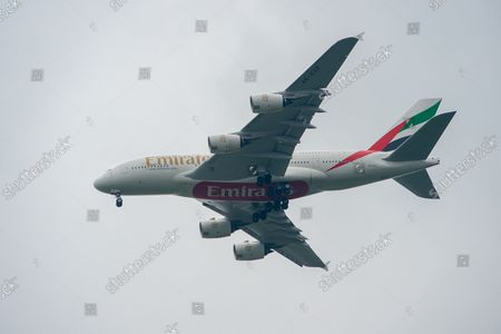 Stock Photo of An Emirates Airbus A380-800 aircraft. It was a busy morning with aircraft arrivals coming into land at London Heathrow flying over Windsor. Michael O'Leary, Chief Executive of Ryanair has called for the Covid-19 Traffic Light System for passengers to be scrapped. The Government System has been criticised as it is causing confusion as to whether passengers need to self isolate