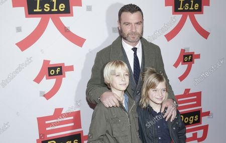 Liev Schreiber arrives with Alexander Pete Schreiber and Samuel Kai Schreiber on the red carpet at the 'Isle Of Dogs' New York Screening at The Metropolitan Museum of Art on March 20, 2018 in New York City