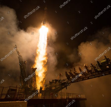 The Soyuz MS-08 rocket is launched with Expedition 55 Soyuz Commander Oleg Artemyev of Roscosmos and flight engineers Ricky Arnold and Drew Feustel of NASA, on March 21, 2018, at the Baikonur Cosmodrome in Kazakhstan. Artemyev, Arnold, and Feustel will spend the next five months living and working aboard the International Space Station. NASA