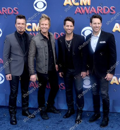 (L-R) Barry Knox, Josh McSwain, Matt Thomas and Scott Thomas of Parmalee attend the 53rd annual Academy of Country Music Awards held at MGM Grand Garden Arena in Las Vegas, Nevada on April 15, 2018. The show will be telecast live on CBS.