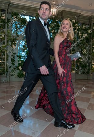 Speaker of the House or Representatives Paul Ryan and his wife Janna Ryan arrive for the State dinner in honor of French President Emmanuel Macron and his wife Brigitte at the White House in Washington, D.C. on April 24, 2018. Macron and Trump met earlier in the day and discussed a range of bilateral issues during Trumps first official state visit with the French president.
