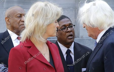 """Stock Picture of Actor and comedian Bill Cosby, Bill Cosby defense attorney Kathleen Bliss, spokesperson Andrew Wyatt and attorney Tom Mesereau talk outside after exiting Montgomery County Courthouse after Cosby was found guilty on all 3 counts of aggravated indecent assault in his sexual assault trial in Norristown, PA on April 26, 2018. The 80-year-old comedian once known as """"America's Dad"""" lost in his retrial on three charges of aggravated indecent assault for allegedly drugging and assaulting Andrea Constand in 2004 at his home outside Philadelphia. He pleaded not guilty to the charges. His first trial ended last June with a hung jury."""