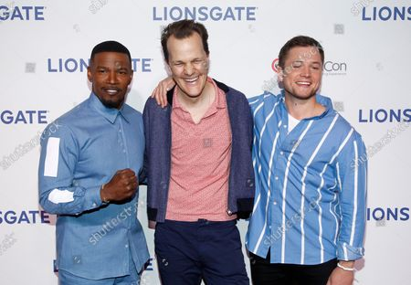 'Robin Hood' actor Jamie Foxx, director Otto Bathurst and actor Taron Egerton arrive for the Lionsgate Cinemacon Red Carpet at Caesars Palace, Las Vegas, Nevada on April 26, 2018.