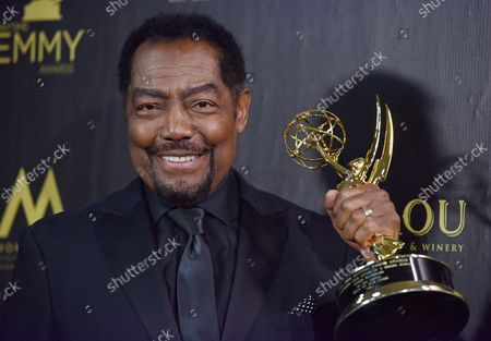 James Reynolds holds up his award for Outstanding Lead Actor in a Drama Series backstage in the press room during the 45th Annual Daytime Emmy Awards at the Pasadena Civic Auditorium in Pasadena, California on April 29, 2018.
