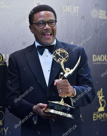 Judge Mathis holds up his award for Outstanding Legal/Courtroom Program backstage in the press room during the 45th Annual Daytime Emmy Awards at the Pasadena Civic Auditorium in Pasadena, California on April 29, 2018.