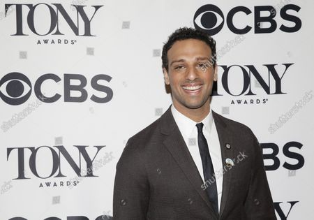 Ari'el Stachel arrives on the red carpet at the 2018 Tony Awards Meet The Nominees Press Junket at the InterContinental New York Times Square Hotel on May 2, 2018 in New York City.