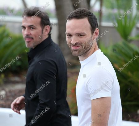 """Stephane Rideau (L) and Alban Lenoir arrive at a photocall for the film """"Gueule d'ange"""" during the 71st annual Cannes International Film Festival in Cannes, France on May 12, 2018."""