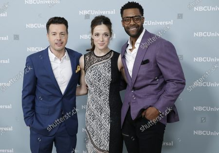 Jon Seda, Marina Squerciati and Jocke Sims arrive on the red carpet at the 2018 NBCUniversal Upfront at Radio City Music Hall on May 14, 2018 in New York City.