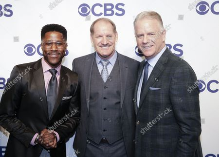 Nate Burleson, Bill Cowher and Boomer Esiason arrive on the red carpet the 2018 CBS Upfront at The Plaza Hotel on May 16, 2018 in New York City.