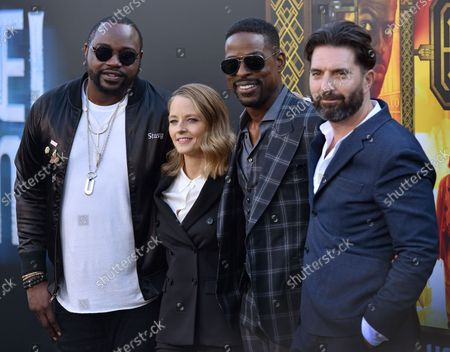 (L-R) Brian Tyree Henry, Jodie Foster, Sterling K. Brown and director Drew Pearce attend the premiere of 'Hotel Artemis' at the Regency Bruin Theatre in Los Angeles, California on May 19, 2018.