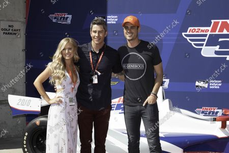Bachelor contestants Lauren Burnham, fiance Arie Luyendyk Jr. and Ben Higgins pose on the Red Carpet before the 102nd running of the Indianapolis 500 at the Indianapolis Motor Speedway on May 27, 2018 in Indianapolis, Indiana.