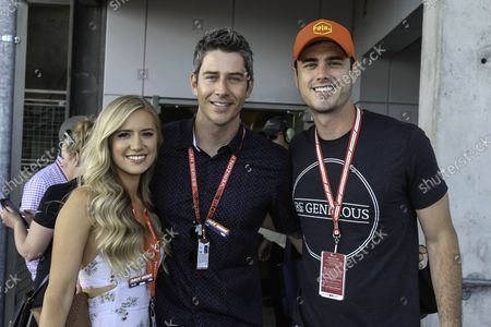 Batchelor contestants Lauren Burnham, fiance Arie Luyendyk Jr. and Ben Higgins stand on the Red Carpet before the102nd running of the Indianapolis 500 at the Indianapolis Motor Speedway on May 27, 2018 in Indianapolis, Indiana.