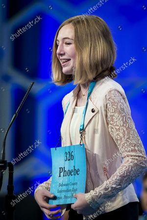 Phoebe Smith, 12, from Aston, Pennsylvania, participates in the final round of the 2018 Scripps National Spelling Bee on May 31, 2018 in Oxon Hill, Maryland. The Bee was expanded this year and now spans three days with 519 spellers. Forty-one spellers advanced to the final round.