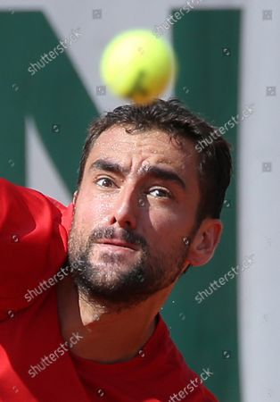 Marin Cilic of Croatia watches the ball during his French Open men's third round match against American Stevie Johnson at Roland Garros in Paris on June 2, 2018. Cilic defeated Johnson 6-3, 6-2, 6-4 to advance to the fourth round.